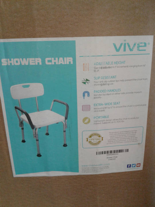 Bath Safety Vive Shower Chair With Back Wheelsinmotion